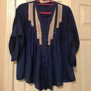 Flyaway Ark & Co Blue Beaded Blouse